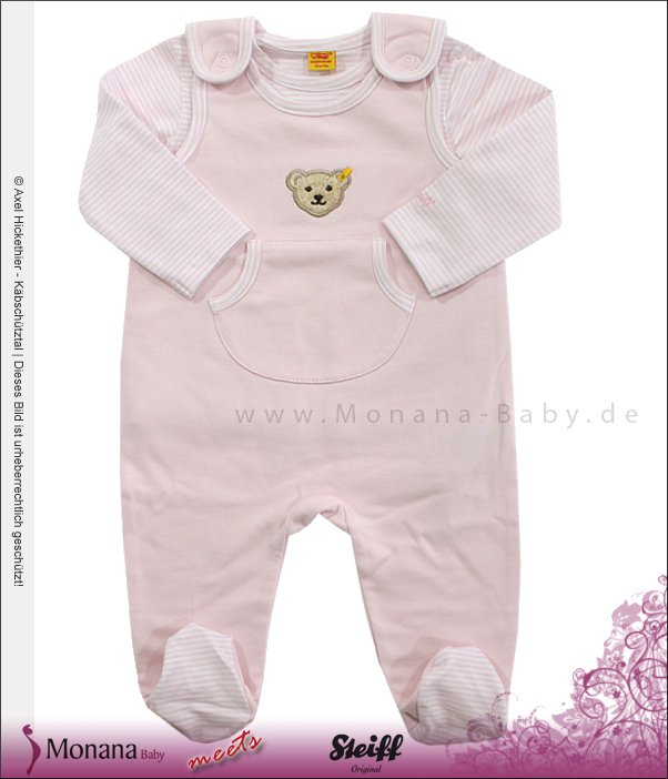 Steiff Collection Baby-Strampler & Shirt Little Riviera rosa<br>Größe: 62