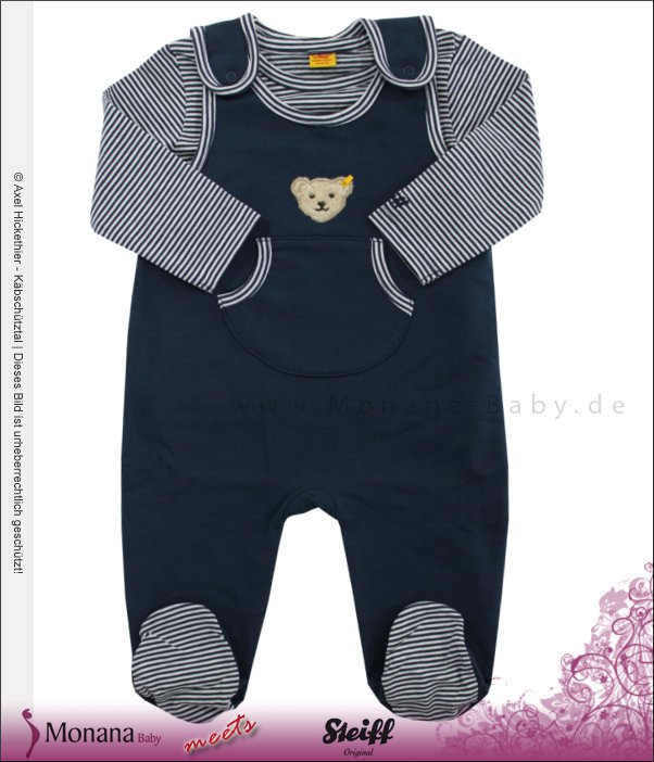 Steiff Collection Baby-Strampler & Shirt Little Riviera blau<br>Größe: 62
