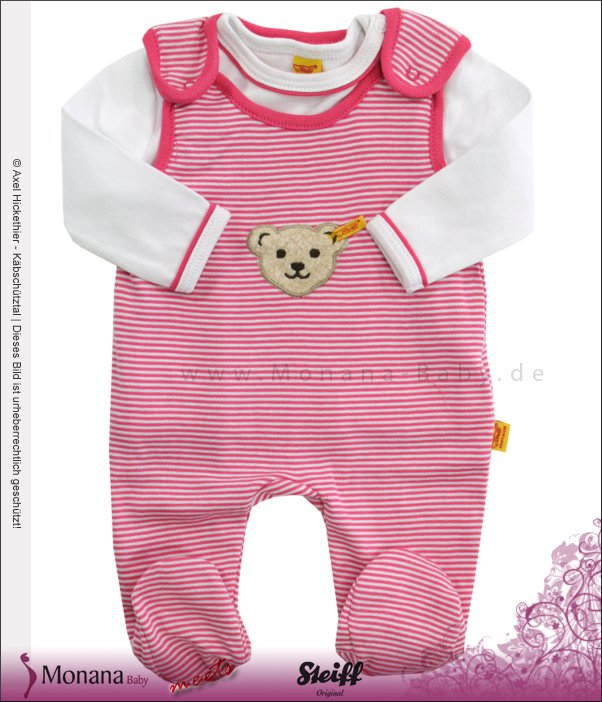Steiff Collection Baby-Strampler & Baby-Shirt Summer Colours pink<br>Größe: 56, 62