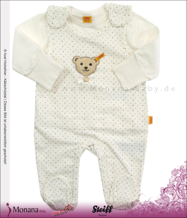 Steiff Collection Baby-Strampler ecru & Baby-Shirt Little Dots<br>Größe: 62