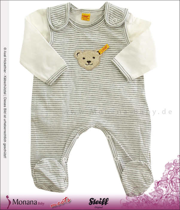 Steiff Collection Baby-Strampler & Shirt ecru<br>Größe: 68