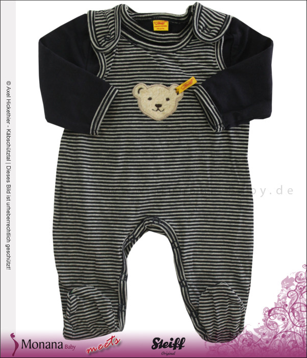 Steiff Collection Baby-Strampler marine & Shirt<br>Größe: 62