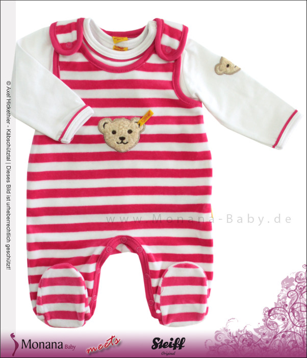 Steiff Collection Nicki-Strampler & Shirt Ringel Color Nicky pink<br>Größe: 62