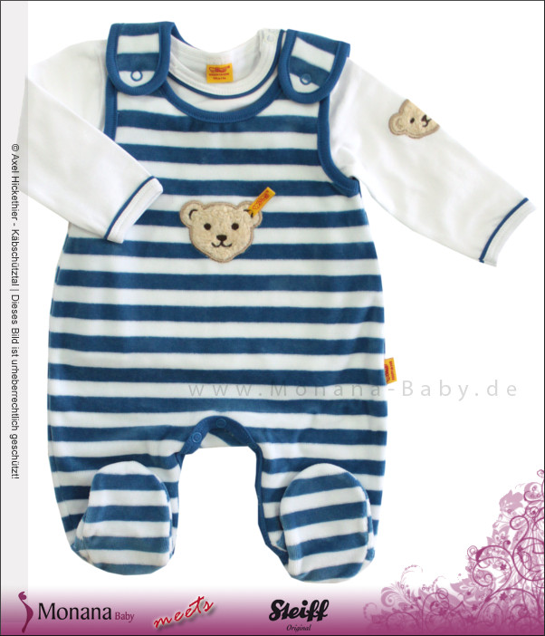 Steiff Collection Nicki-Strampler & Shirt Ringel Color Nicky blau<br>Größe: 68