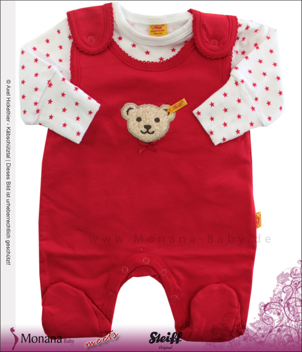 Steiff Collection Baby-Strampler & Baby-Shirt Little Star rot<br>Größe: 50