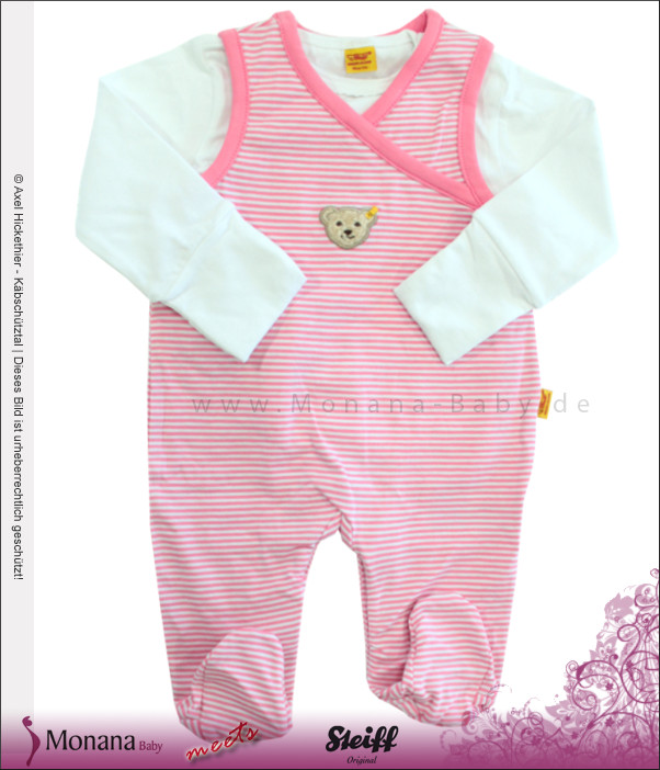 Steiff Collection Baby-Strampler & Baby-Shirt  Poetry rosa<br>Größe: 56