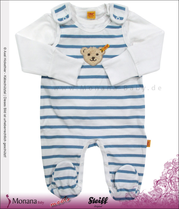 Steiff Collection Baby-Strampler & Baby-Shirt Water Colours blau<br>Größe: 62