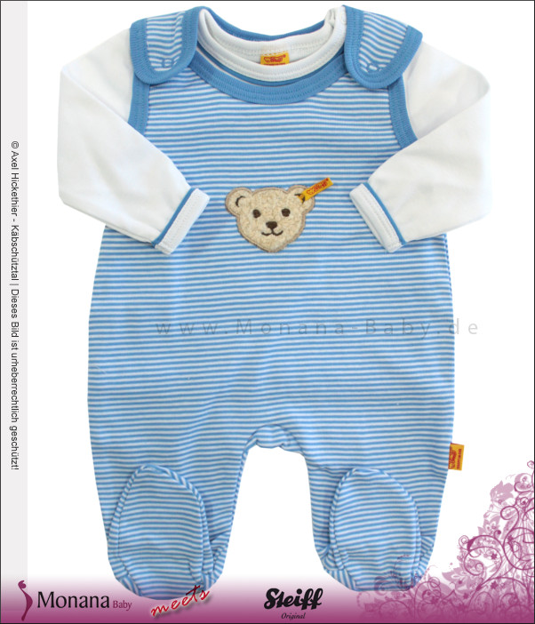 Steiff Collection Baby-Strampler & Baby-Shirt  Summer Colours blau<br>Größe: 62