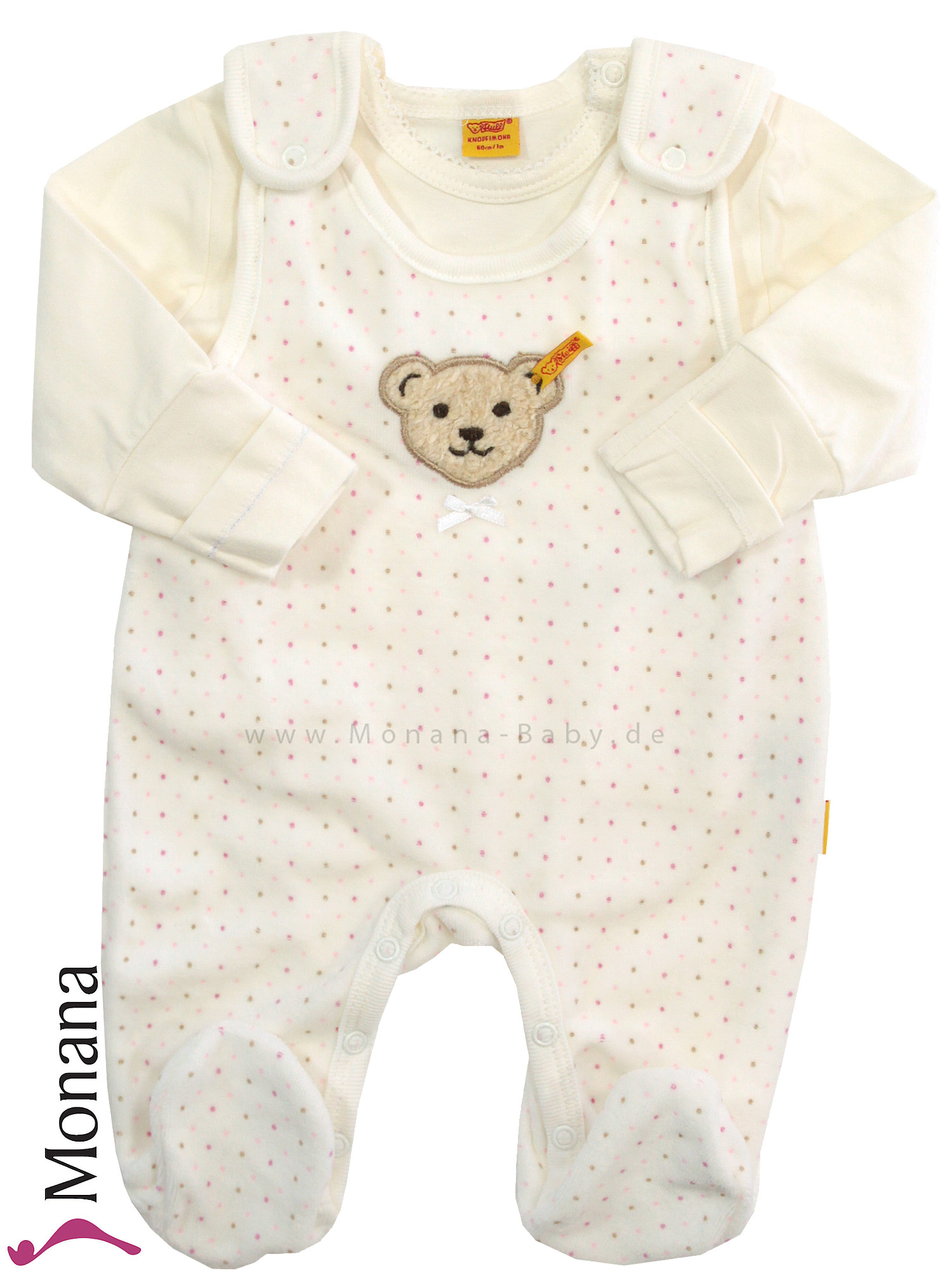 Steiff Collection Baby-Strampler ecru & Baby-Shirt Little Teddybear<br>Größe: 62