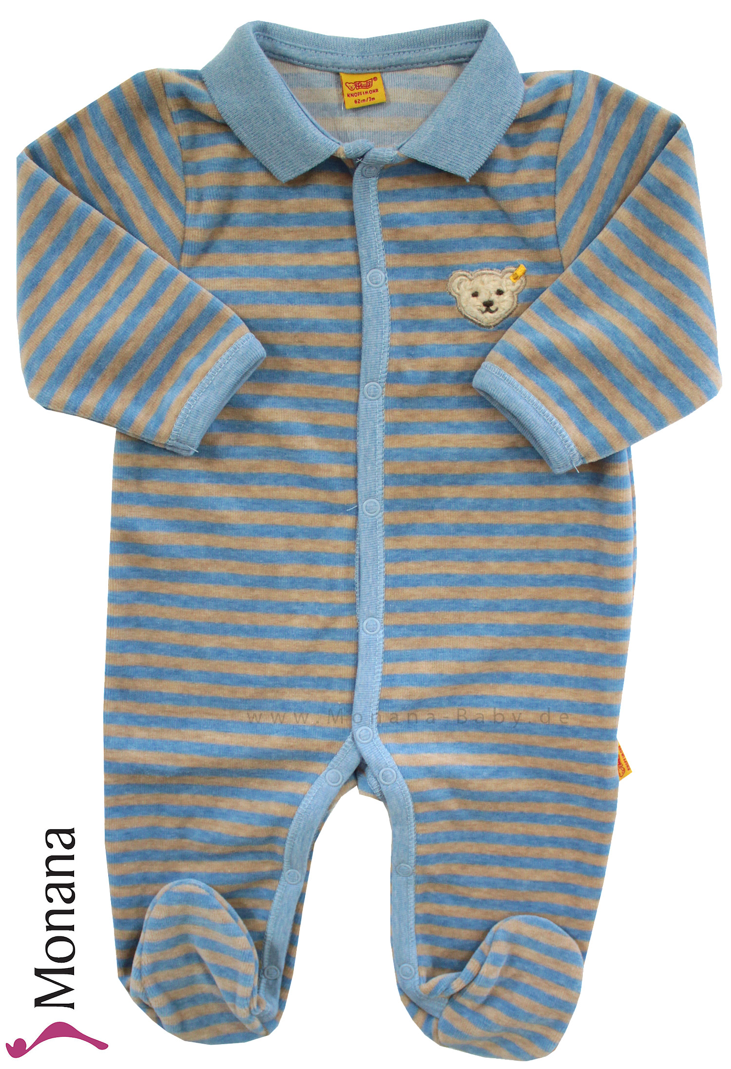 Steiff Collection Nicki-Polo-Overall blau-braun<br>Größe: 68
