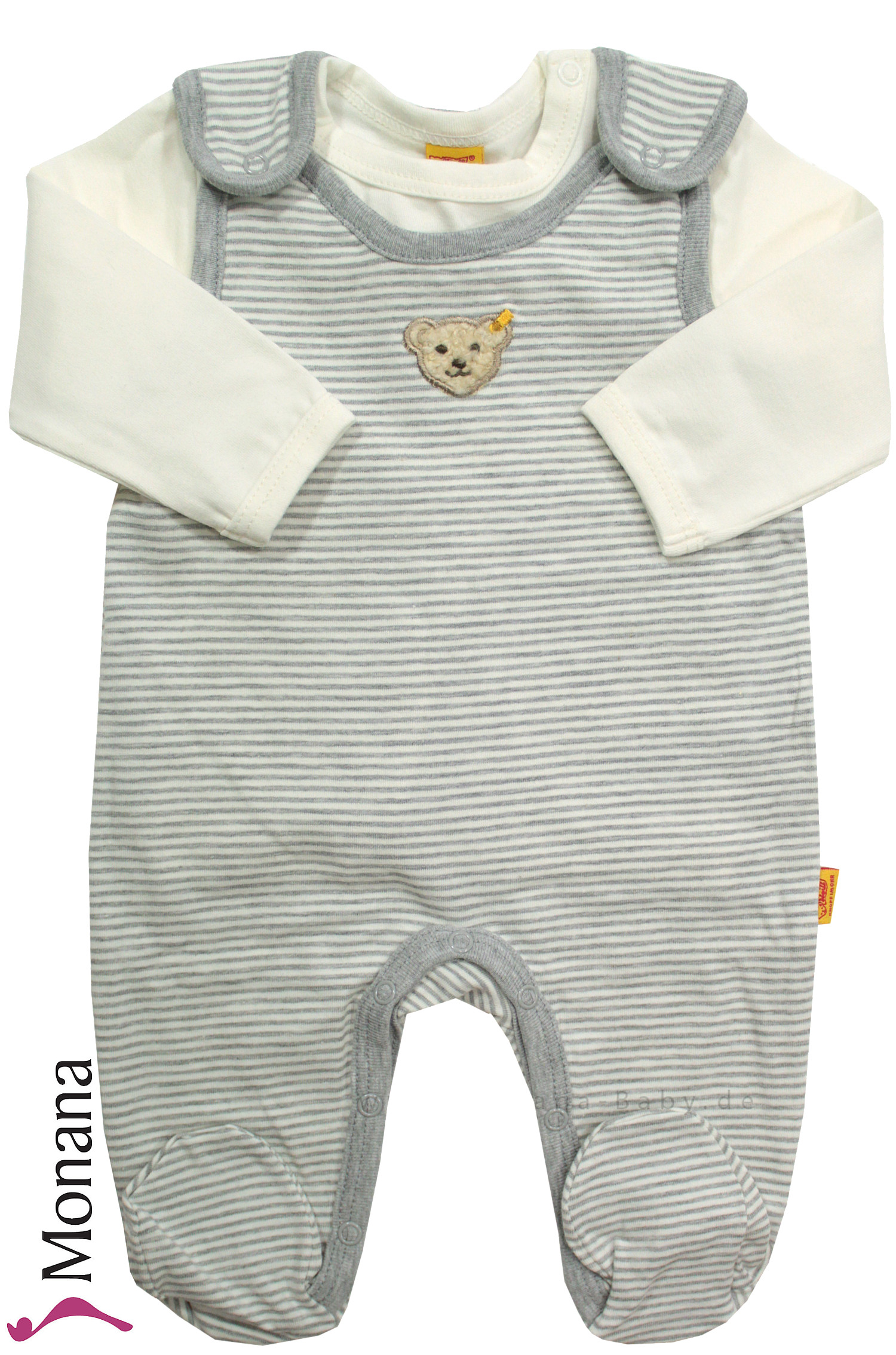 Steiff Collection Baby-Strampler & Baby-Shirt grau<br>Größe: 68