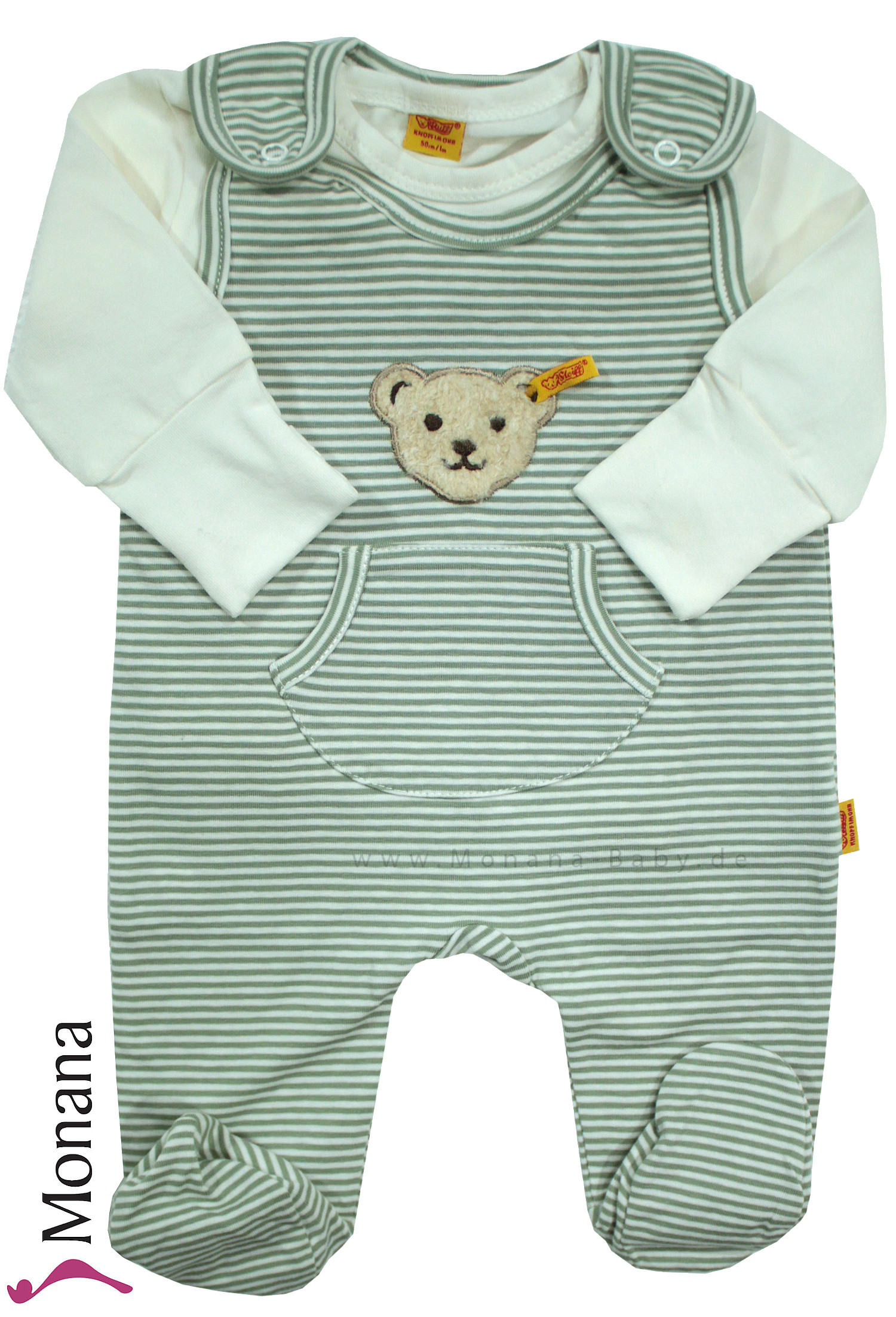 Steiff Collection Baby-Strampler & Baby-Shirt Vintage olive<br>Größe: 50