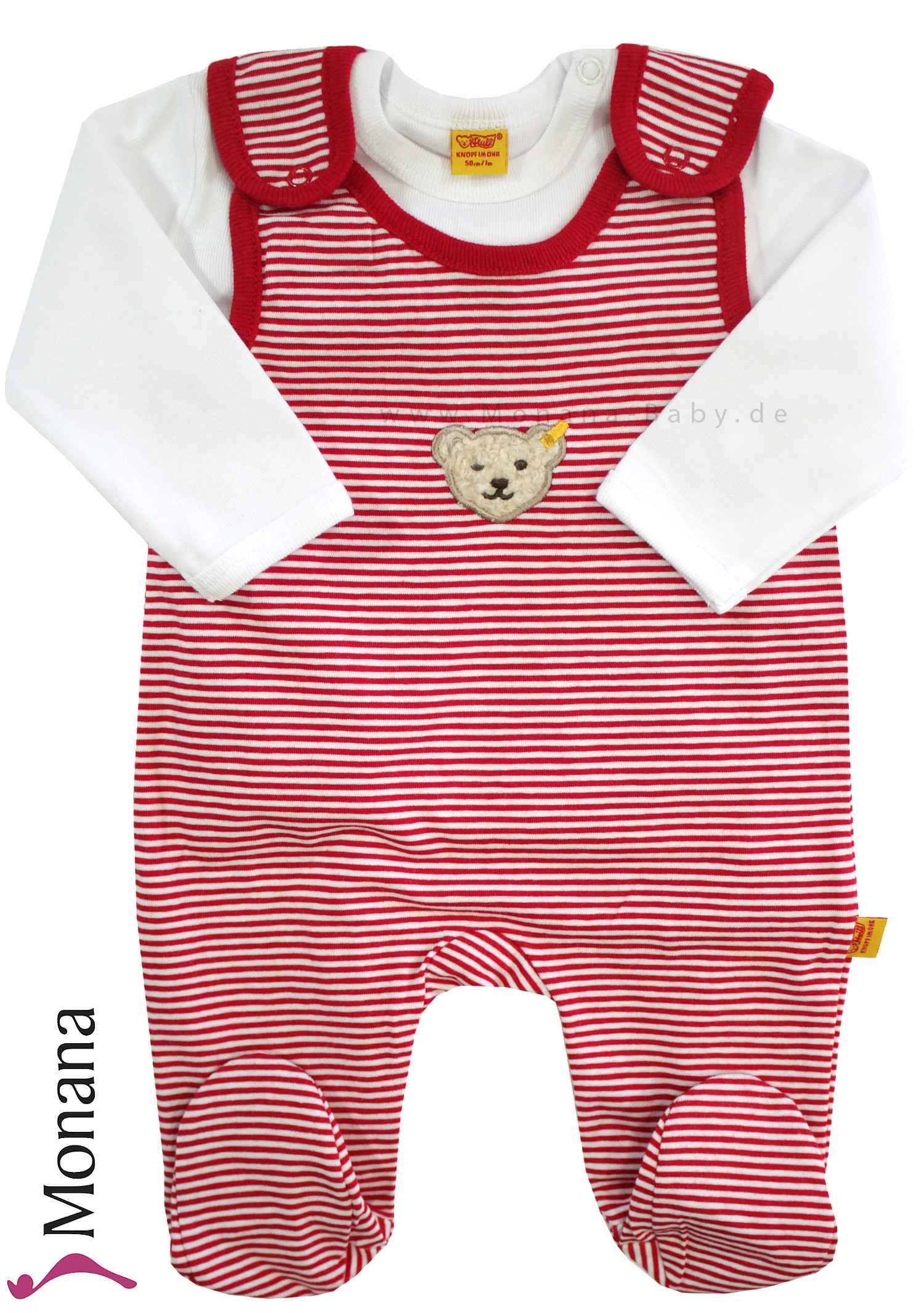 Steiff Collection Baby-Strampler & Baby-Shirt  Ringel rot<br>Größe: 50