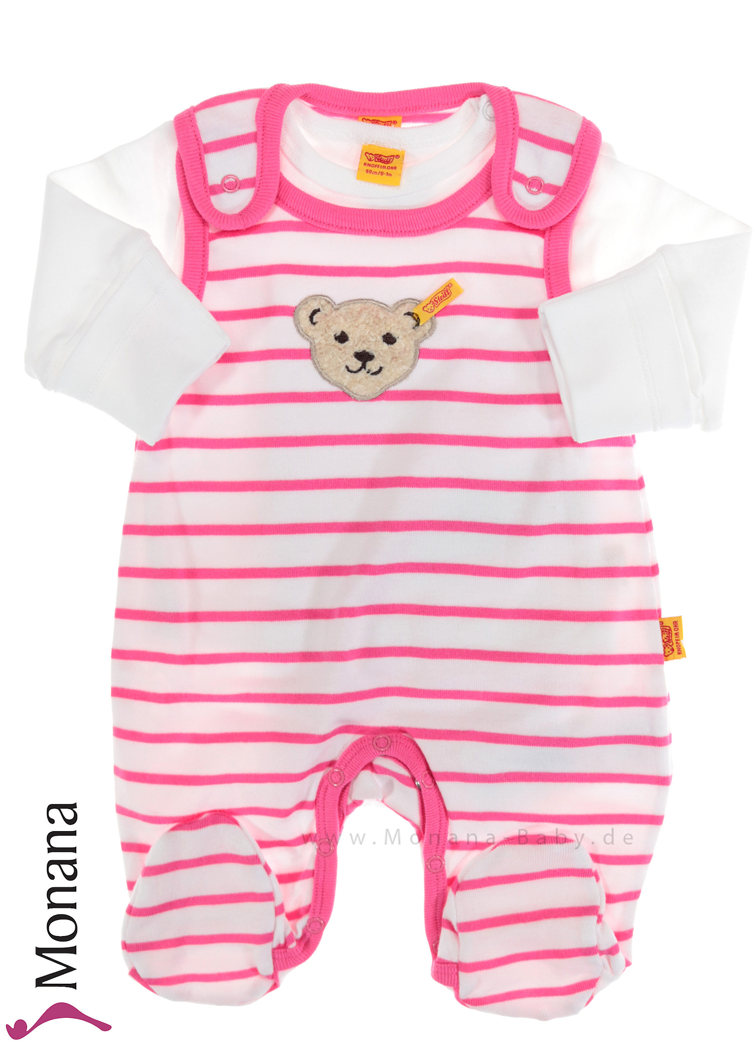 Steiff Collection Baby-Strampler & Baby-Shirt  Summer Colors pink<br>Größe: 56